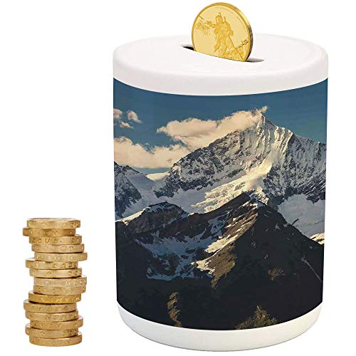 (Lake House Decor,Ceramic Girl Bank,Printed Ceramic Coin Bank Money Box for Cash Saving,Snowy Mountain Summit Clouds in Sky Tranquility in Wild Nature Theme)