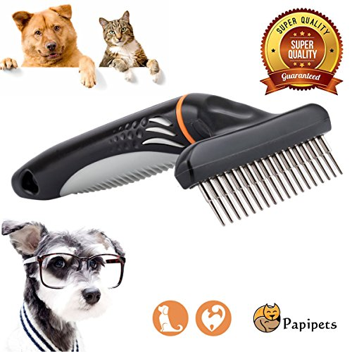 Papipets Pet Dematting Comb Tool with Long Tooth Undercoat Pets Rake Designed for Heavy and Long Coats