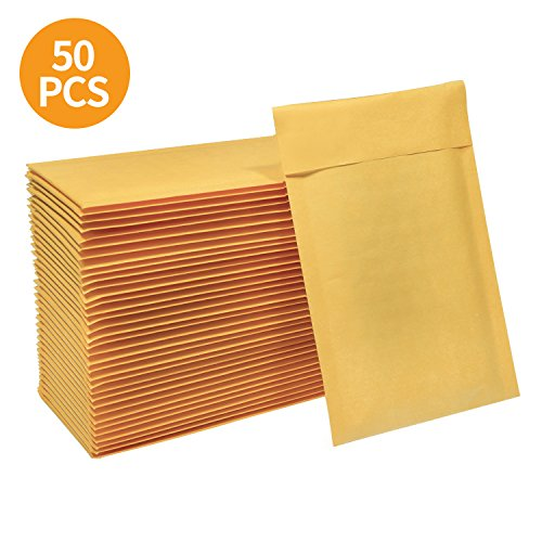 HBlife 4x8 Inches Kraft Bubble Mailers Self Seal Padded Envelopes, Pack of 50 (4 Kraft Bubble Mailers)