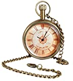 Unisex Antique Case Vintage Brass Rib Chain Quartz Christmas Pocket Watch for Men Women - 1.8 Inch