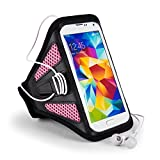 "Samsung galaxy On5 Pro / S7 / J3 Pro / Amp 2 / J5 / Z2 Pouch Sports Armband, Easy Fitting, For Gym Bike Jogging Running Walking Hiking Pink Armband (12""-19"" Strap)"