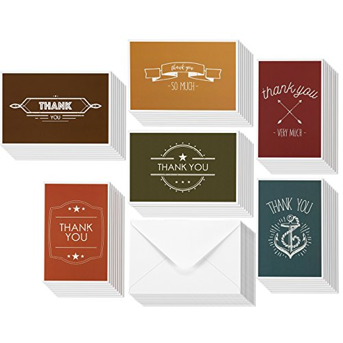 Minimalist Style Thank You Greeting Cards - Bulk Set of 4 x 6 Paper Thank You Greetings, Envelopes Included - 48 Pack