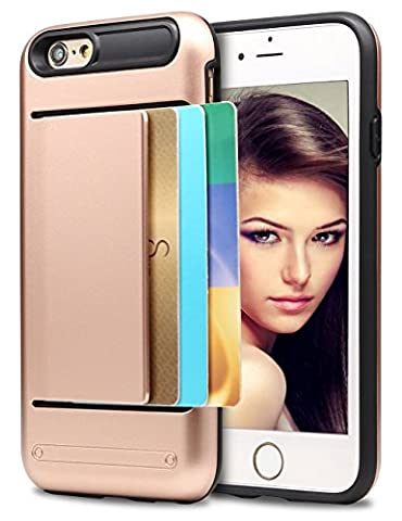 iPhone 5S Case, Asstar Wallet case Card Slot [Anti Scratch] Dual Layer Shockproof [Soft TPU] & Hybrid Hard PC Back Cover Armor for Apple iPhone SE 5S 5 (Rose (Cheap Iphone 5 Speck Cases)