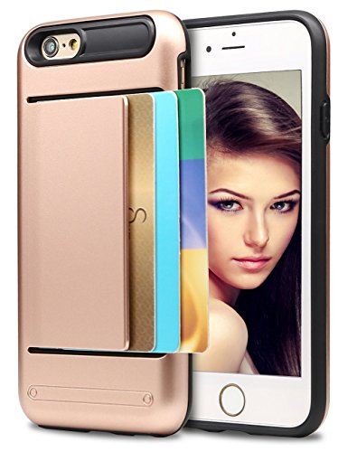iPhone 5S Case, Asstar Wallet case Card Slot [Anti Scratch] Dual Layer Shockproof [Soft TPU] & Hybrid Hard PC Back Cover Armor for Apple iPhone SE 5S 5 (Rose gold) (Speck Iphone 5s Camo Case)
