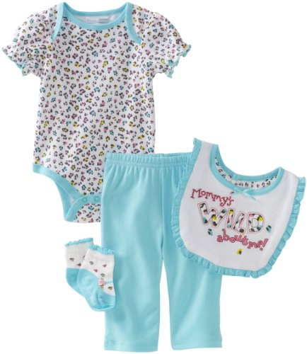 Vitamins Baby-girls Newborn Mommy's Wild About Me 4 Piece Creeper Pant Set