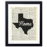 Texas Home Script Upcycled Vintage Dictionary Art Print 8x10