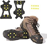 Carryown Ice Cleats, Ice Grips Traction Cleats Grippers Non-Slip Over Shoe/Boot Rubber Spikes Crampons Anti Easy Slip 10 Ste