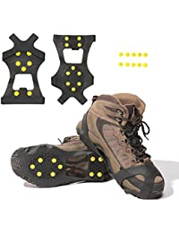Ice Cleats, Ice Grips Traction Cleats Grippers Non-Slip Over Shoe/Boot Rubber Spikes Crampons Anti Easy Slip 10 Steel Studs Crampons Slip-on Stretch Footwear + 10 Extra Replacement Studs
