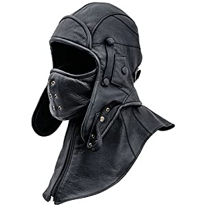 c588e59915b Review For Sterkowski Genuine Leather Men s Aviator Trapper Cap with Mask  and Collar for sale -