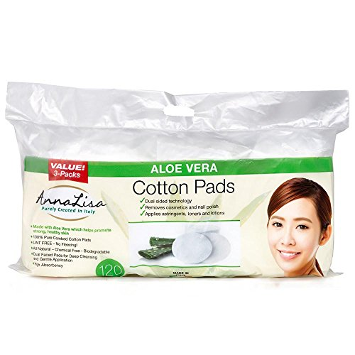 AnnaLisa large 100% Pure Combed Cotton Aloe Vera Pads for Makeup/Nail Polish Removal |120-Piece Italian Ovals Facial Cleansing | 3 Packs of 40 Hypoallergenic & Absorbing Cotton Ovals ()