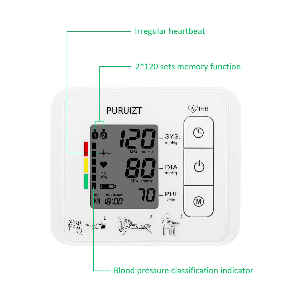 "Amazon.com: PURUIZT Upper Arm Blood Pressure Monitor with Accurate Digital Automatic Measurement Blood Pressure Monitor with Large Adjustable Cuff(8.7"" to ..."