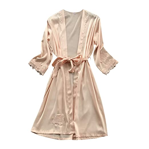 4e664d5e53 Image Unavailable. Image not available for. Color  Rakkiss Women Lace  Kimono Robe Silk Sexy Babydoll Lingerie Mesh Nightgown