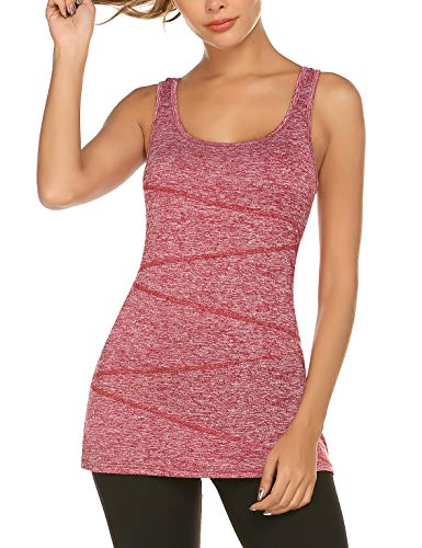 LOMON Stretchy Activewear Tops Running Racerback Tunic Tank Ladies Scoop Neck Flowy Loose Fit Dressy Tank Top Athletic Sports Wear Wine Red L