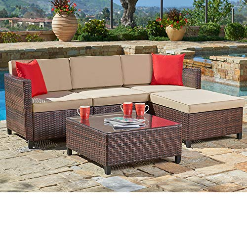 SUNCROWN Outdoor Sectional Sofa (5-Piece Set) All-Weather Brown Checkered Wicker Furniture with Brown Seat Cushions and Modern Glass Coffee Table, Patio, Backyard, Pool (Own Your Sofa Make Sectional)