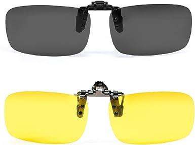 Polarized Flip Up Clip On Sunglasses Pilot Night Vision Car Driving Sun Glasses