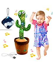 """Rechargeable Dancing Cactus Toy, BLUELAND Talking toys, Shaking, Recording, Singing Song, """"Repeat your speech"""" Funny Plush Stuffed Gift for Toddler, Baby, Kids, age 1 2 3 4 5 6 7 (B - Rechargeable)"""
