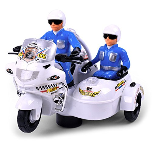 TTnight Electronic Police Motorcycle with Flashing Lights and Sounds Toys for Baby Kids Boys (Police Balance Bike)