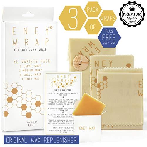 ENEY Premium Organic Beeswax Food Wraps | Honeycomb Print |...