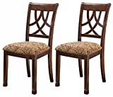 Ashley Furniture Signature Design – Leahlyn Dining Upholstered Side Chair – Pierced Splat Back – Set of 2 – Medium Brown For Sale