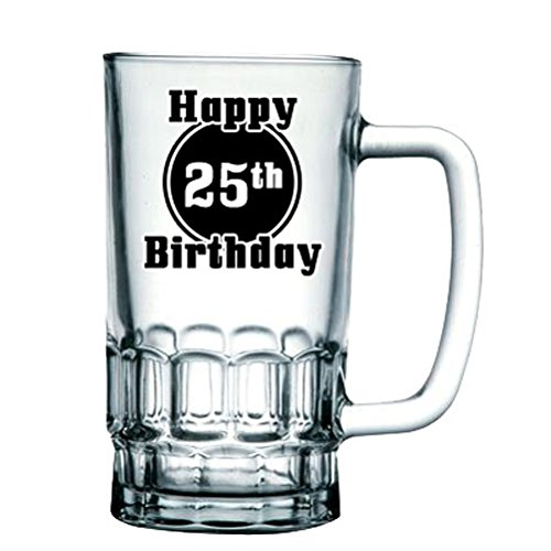 BRAND NEW 'Happy 25th Birthday' Birthday Beer Tankard/Stein/Mug - Exclusive to Mugs n Kisses Collection