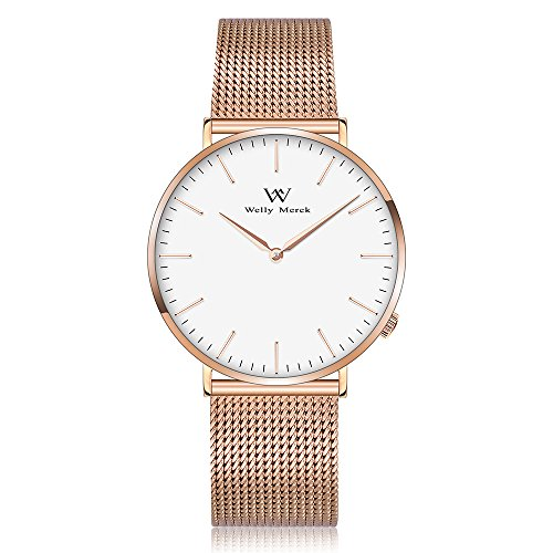Welly Merck Swiss Movement Sapphire Crystal Women Luxury Watch Minimalist Ultra Thin Slim Analog Wrist Watch 18mm Rose Gold Stainless Steel Mesh Band in White 36mm 164ft Water Resistant by WM WELLY MERCK