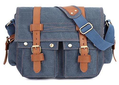 Veenajo Men's Vintage Canvas Leather Satchel School Shoulder Bag Messenger Laptop Bag - Guess Outlet Online Store