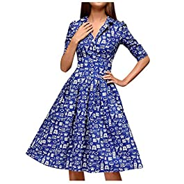Evansamp Women's Fashion V Neck Half Sleeves Dress Bags Zip Large Swing Dress