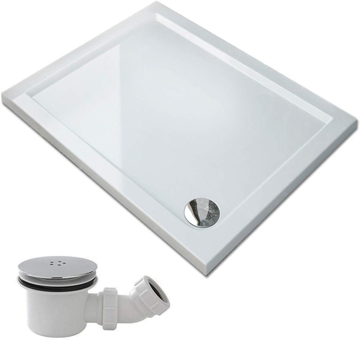 SIRHONA Receveur de douche carr/ée 76 x 76 cm bac /à douche avec bonde de douche