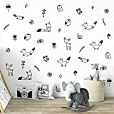 Wall Vinyl Woodland Decal 40 pcs. Nursery Decor, Original Artist Design. Adhesive Forest Stickers for Kids. Baby Nordic Fox, Deer, Owl, Birds, Bee, Raccoon, Flowers and Plants Bedroom Decoration.