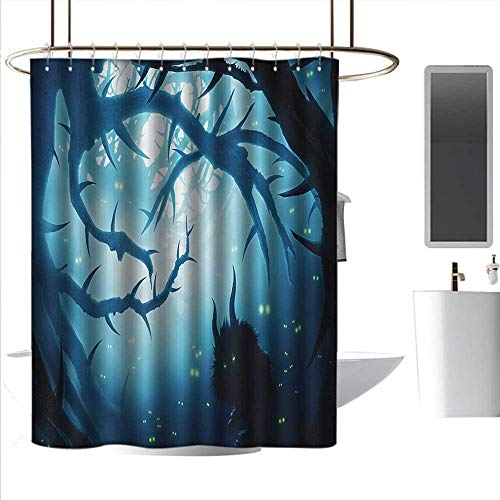 Shower Curtains Victorian Mystic,Animal with Burning Eyes in The Dark Forest at Night Horror Halloween Illustration,Navy White,W72 x L96,Shower Curtain for Small Shower stall -