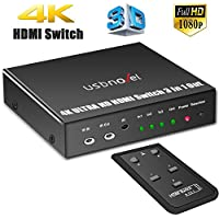 USBNOVEL HDMI Switch 3 Port 3 x 1 with IR Wireless Remote Control and Power Adapter HDMI Switcher Hub Port Switches Iron Case supports 3D 4Kx2K Black