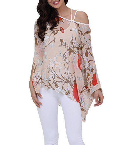 DearQ Lady Summer Bohemian Blouse Floral Plus Size Semi Sheer Loose Tops 4293