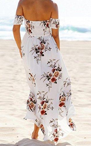Avvolgono Diviso donne Vestito Coolred Floreale Adatto Spalline Bianca Di Senza Spiaggia Maxi Modo wZqxCxOX