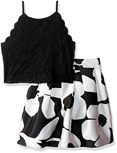 Amy Byer Girls' Big 2-Piece Dress Set, Black/Ivory Flower pop Border, 8 ()