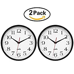 2 Pack 10 Inch Wall Clock - Battery Operated Round Clock - Easy to Read for Home/Office/School by Hippih