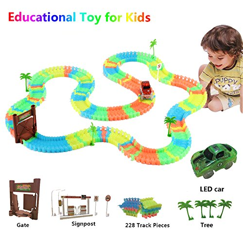 Race Car Track, Glow in the Dark Track With Lig...