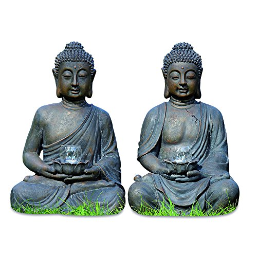 The Urban Zen Buddha Statues, Set of 2, With Lotus Flower Candle Holders, 2 Feet Tall, (Each 24 Inches) From the Serenity Collection By Whole House Worlds (Candle Sculpture)