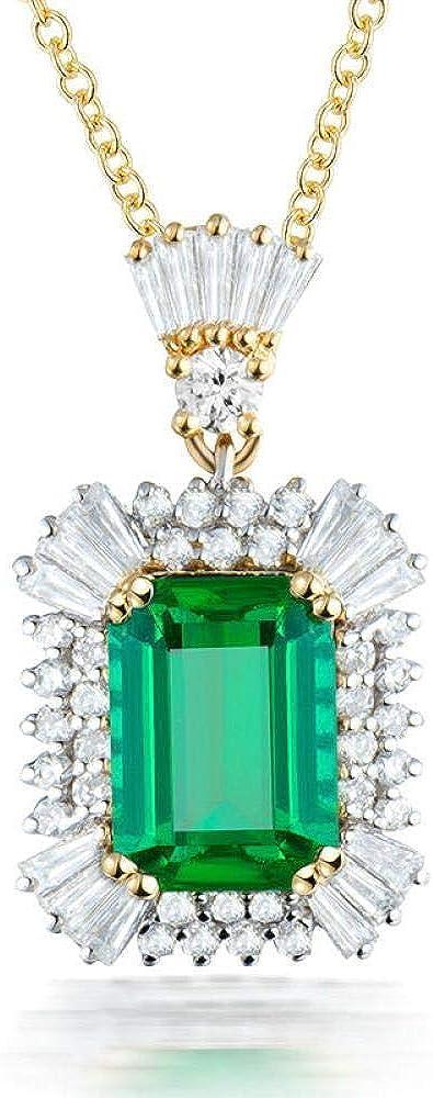 TFTHG Collar Colgante para Mujer Jade Plata de Ley 925 Esmeralda Corte de Piedras Preciosas Oro Macizo Diamante Natural Esmeralda Colgantes