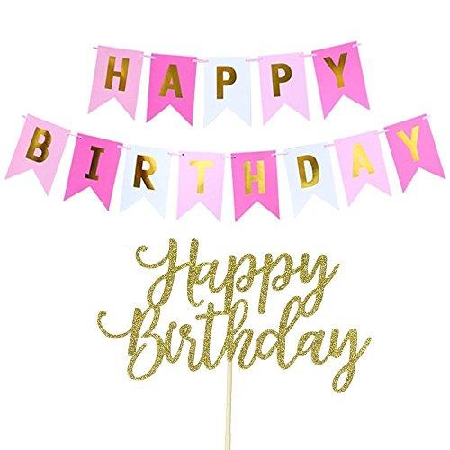 Happy Birthday Banner, Happy Birthday Cake Topper