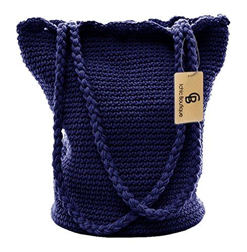 Bucket Bags Womens Handbags Summer Crochet Bags Shoulder Purse Shopper,Sapphire Blue