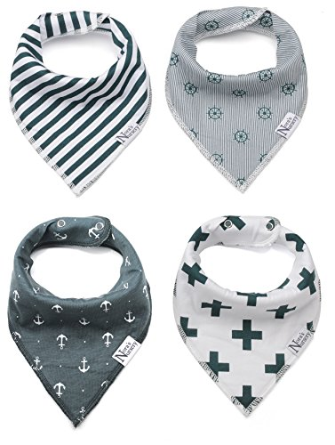 Nautical Baby Bandana Drool Bibs 4 Pack Shower Gift Set Idea For Boys or Girls by Nora's Nursery