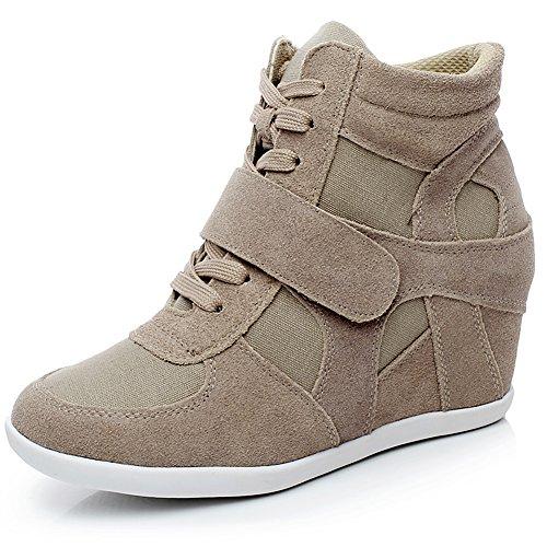 Generieke Dames Formele Sleehak Verborgen Hiel Haak & Leder Suede Leren Mode Sneakers Kaki