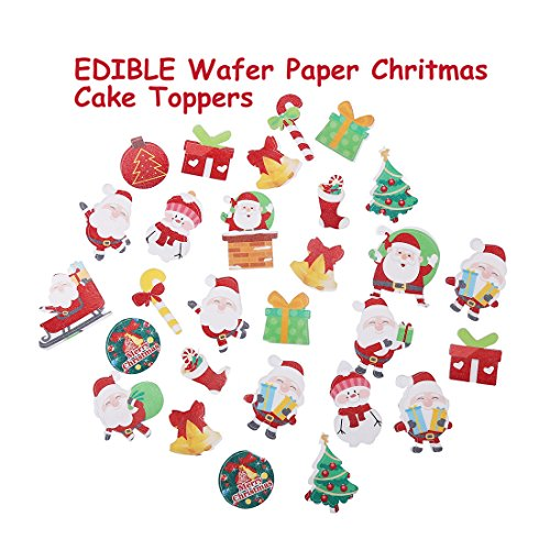GEORLD 48 Pcs Wafer Edible Christmas Paper Party Cake & Cupcake Toppers Decoration (Dessert For Cakes Christmas)