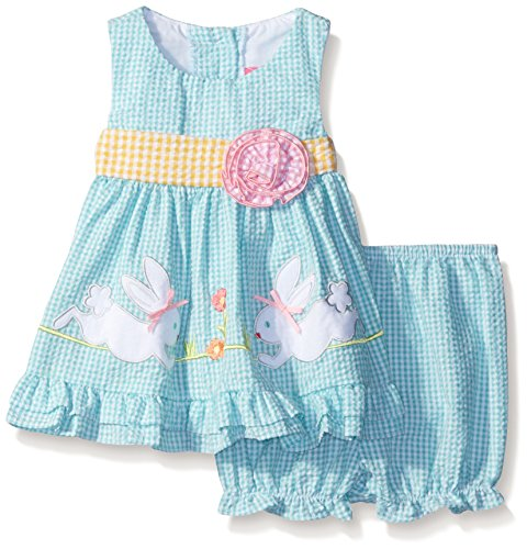 [Baby Goodlad Girls' Seersucker Dress with Bunny Embroidery, Blue, 6-9 Months] (Baby Easter Dresses)
