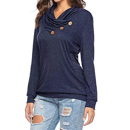 Sunhusing Ladies Roll Neck Solid Color Long Sleeve Irregular Button T-Shirt Cowl Neck Tunic Sweatshirt Tops -