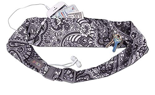 BANDI Unisex Secure Running Belt with Adjustable Straps and Clasp, Classic Size Pocket (Black Paisley)