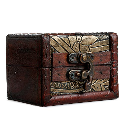 Chunlin 1pc Vintage Small Wooden Lock Jewelry Holder Storage Necklace Bracelet Gift Box Case (style 1)