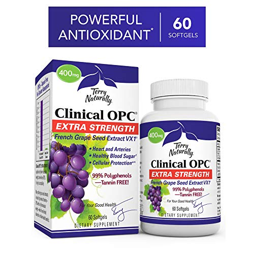 Terry Naturally Clinical OPC Extra Strength - 60 Softgels - French Grape Seed Extract Supplement, Supports Heart & Immune Health, Antioxidant - Non-GMO, Gluten-Free, Kosher - 60 Servings Best French Grape Extract
