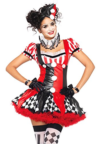 Leg Avenue Women's 3 Piece Harlequin Clown Costume, Black/Red, Large -