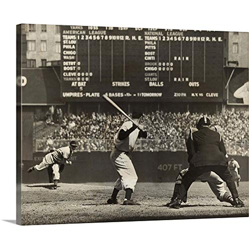GREATBIGCANVAS Gallery-Wrapped Canvas Entitled Cleveland Indians', Bob Feller, Pitching to New York Yankees' Joe DiMaggio by 20
